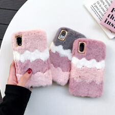For iPhone11 Samsung Huawei Autumn Winter Warm Wave Fur Soft Shell Case Cover