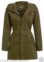 Size 8 10 12 14 16 Women's CANVAS COTTON MAC Ladies TRENCH JACKET COAT NEW Khaki