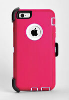 iPhone 6 Plus & iPhone 6s Plus Defender Hard Case w/Holster Belt Clip Pink/White