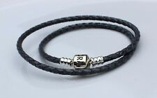 S925 ALE PANDORA GENUINE SILVER GREY DOUBLE LEATHER BRACELET GREY 38 cm