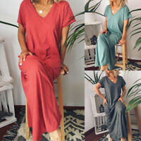❤️ Plus Size Women Short Sleeve Casual Loose Long Maxi Dress Kaftan V Neck Dress