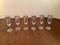 Set of 6 Vintage Etched Crystal Stemmed Cordial Liqueur Glasses Barware