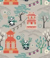 PANDA TEMPLE ON LIGHT GREY BY LEWIS & IRENE - COTTON FABRIC FQ'S
