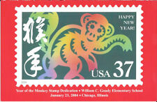 #3832 FD 2nd Day Ceremony Program 37c Year of the Monkey Stamps