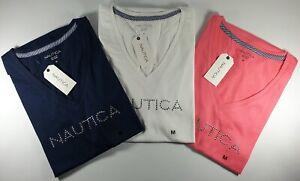 New Authentic Nautica Women's Short Sleeve V-Neck T-Shirt Studded Logo CLEARANCE