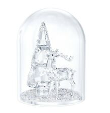Swarovski Crystal Bell Jar - Pine Tree & Stag Glass Dome Decoration 5403173