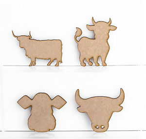 Wooden MDF Cow Animal Cow Head Highland Cow Bull Head Craft 3mm Thick