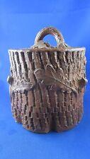 ancien pot a tabac terre cuite emaillée epoque 1900 decor tronc chene gland