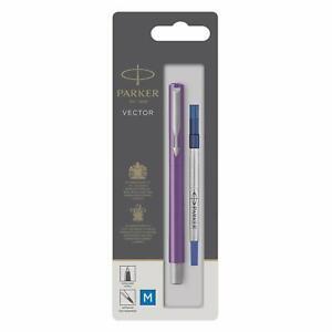 Parker Vector Purple Rollerball Pen Medium Nib Gift Boxed Ballpoint Chrome Trim