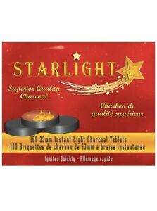 Starlight Charcoal 33 mm 100 Pcs Instant Light Charcoal Round Tablets