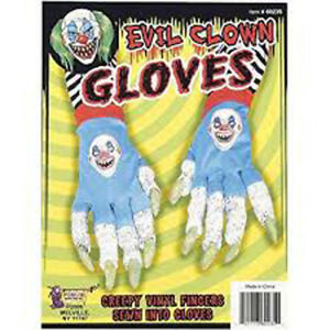 Scary Evil Clown with Creepy Claws Fingers Adult Halloween Costume Gloves