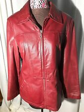 Wilson's Leather women large red leather jacket-lined