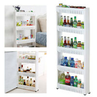 3/4/5 Tier Slim Slide Kitchen Trolley Rack Holder Storage Shelf Organiser Wheels