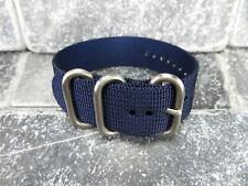 Ballistic Nylon Diver Strap 3 Rings Blue Watch Band Brush for Zulu 24 22 20 18
