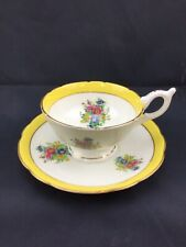 VINTAGE COALPORT CHINA TEA CUP & SAUCER WHITE & YELLOW FLORALS VERY PRETTY!!