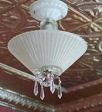 Antique Vintage 1940's ribbed  glass art deco ceiling light fixture  restored
