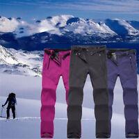 Outdoor Hiking Ski Pants Women Warm Fleece Padded Windproof Waterproof Trousers