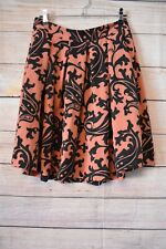 H & M Skirt Circle A line Size 8 Medium 10 12 Pink Black Floral Pleated