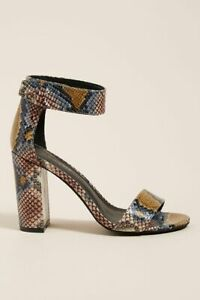 NEW Anthropologie Jeffrey Campbell Snake Embossed Leather Heeled Sandals Size 5