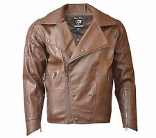 Men's Moto Biker Punk PU Faux Leather Zip up Jackets.