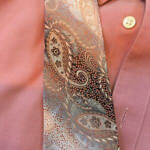 Joseph & Feiss Men's Shirt + Perfect TIE ! (Salmon Color Mens Long Sleeve)