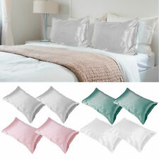 2Pcs Satin Silk Pillowcase Pillow Case Cover King Queen Standard Cushion Cover