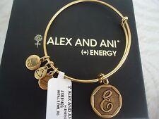 Alex and Ani Initial E Charm Bangle Bracelet  Russian Gold New W/Tag Card & Box