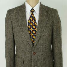 38 R Christopher Brooks Brown Tweed Wool Leather Mens Jacket Sport Coat Blazer