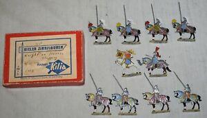 Vintage Kieler Zinnfiguren Knights on Horses Jousting 10 Pieces in Original Box