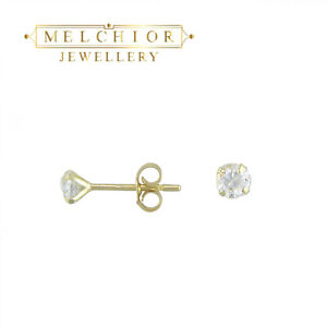 9ct Gold Tiny Small 3mm Clear White Round CZ Studs Earrings Girls Gift Box