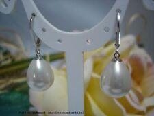 Ohrringe Tropfen 12mm x 16mm aus Muschelkernperlen Weiß, Brisur  925er Silber