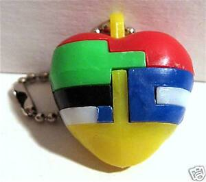 Vintage 1960 Gumball Machine Toy Heart Keychain Puzzle Old Store Stock