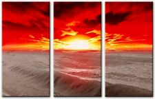 3 Panel Total 120x80cm Large ABSTRACT  ART CANVAS  DIGITAL ORBIT Red