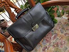 BOSCA Briefcase Black Leather 820/100 Stringer Messenger Lawyers Laptop Bag RARE