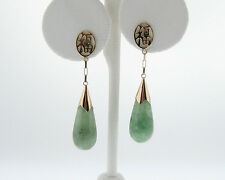 "Estate Jade ""Good Luck"" Solid 14k Yellow Gold Dangle Earrings"