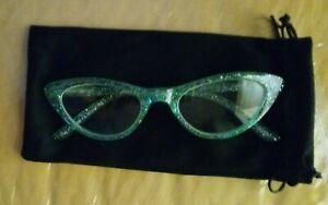 Retro Woman Cat Eye Translucent Frame Glitter Detail Reading Glasses +1.00