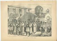 ANTIQUE GREEK FUNERAL LEVADIA ATTICA CASKET CROSS PROCESSION FOOD CHURCH PRINT