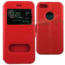 "Custodia flip cover stand Rossa per Apple iPhone 7 4.7"" case 2 due finestre"