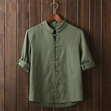Vintage Mens Plain Hemp Collarless Shirt Full Sleeved Tops Chinese Style Blouse Green CH 5xl 3xl