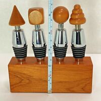 Classic Cone Style Wine 4 Bottle Stoppers Set: w/ Chrome, Turned Wood & Silicone