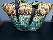 Vera Bradley Large Straw & Fabric Beach Bag Tote