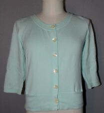 J JILL Seafoam Green KNIT 3/4 Sleeve CARDIGAN Sweater Size Medium