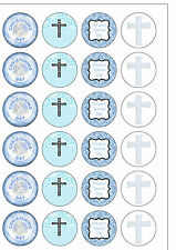 24 PRECUT Round Baby Boy Christening Edible Wafer Paper Cupcake Cake Toppers