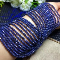"4mm Natural Faceted Dark Blue Sapphire Rondelle Gemstone Loose Beads 15"" AAA"