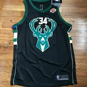New NBA Jersey Milwaukee Bucks Giannis Antetokounmpo 34 Black Swingman