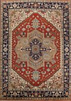 RUST/NAVY 9x12 Wool Geometric Heriz Serapi Oriental Area Rug Hand-Knotted Carpet
