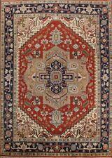 Rust/Navy 9x12 Wool Geometric Heriz Serapi Oriental Area Rug Hand-Knotted Carpet