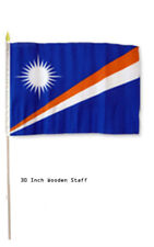"""12x18 Wholesale Lot 6 Marshall Islands Country Stick Flag 30"""" wood staff"""