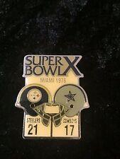 1976 Vtg Starline Super Bowl X Pin Steelers vs Cowboys