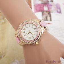 Womens Fashion Watch Rhinestone Marble Case Roman Numerals Quartz Wristwatch